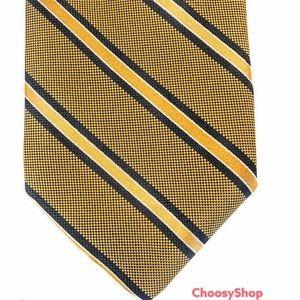 NWT Robert Talbott Silk Tie Tan,Black Striped